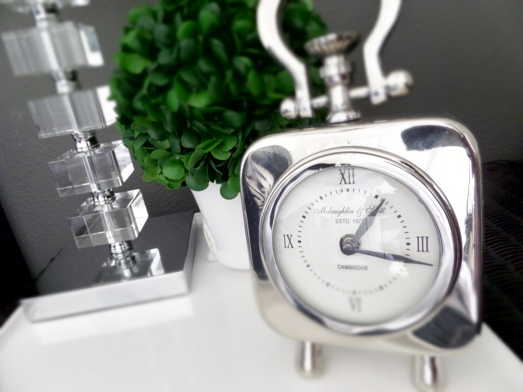 Clock on bedside table