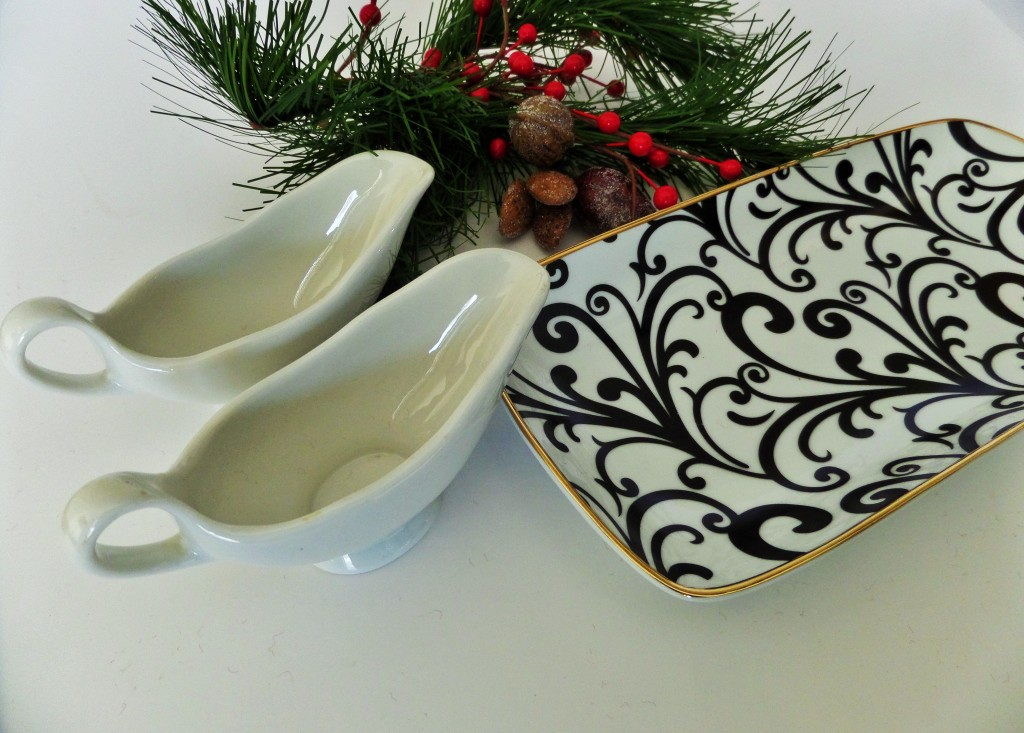 mini gravy bowls and black white and gold dish