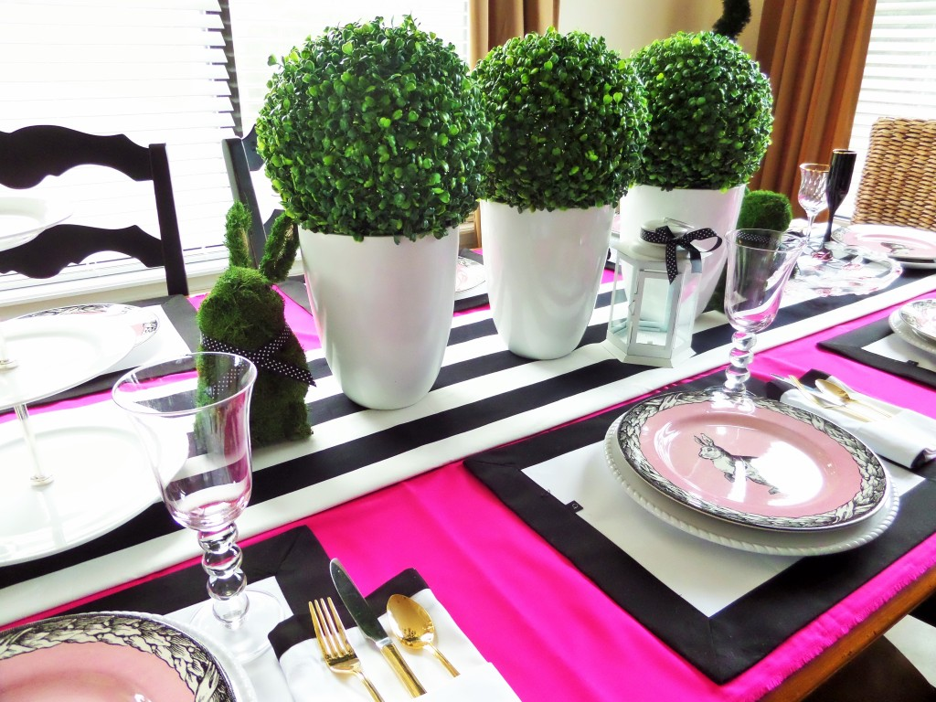 Faux Boxwoods On Easter Tablescape