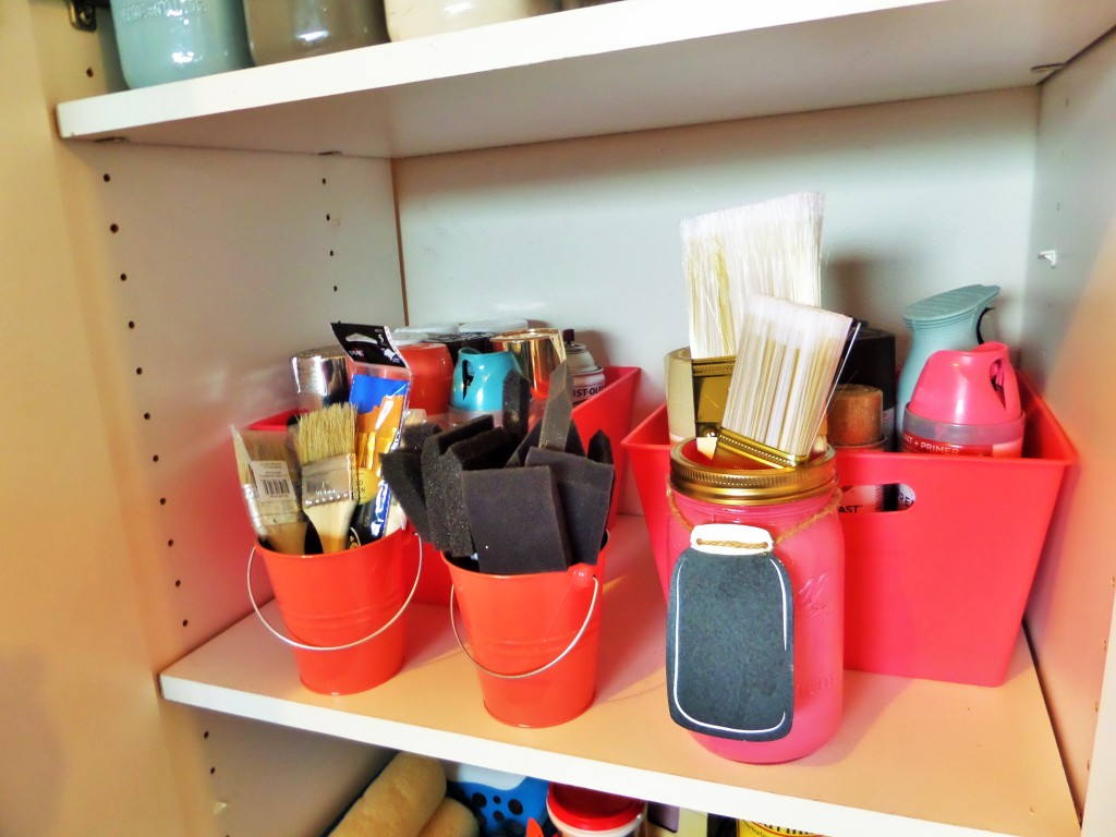 Dollar Tree and Target dollar spot bins for organizing paint supplies