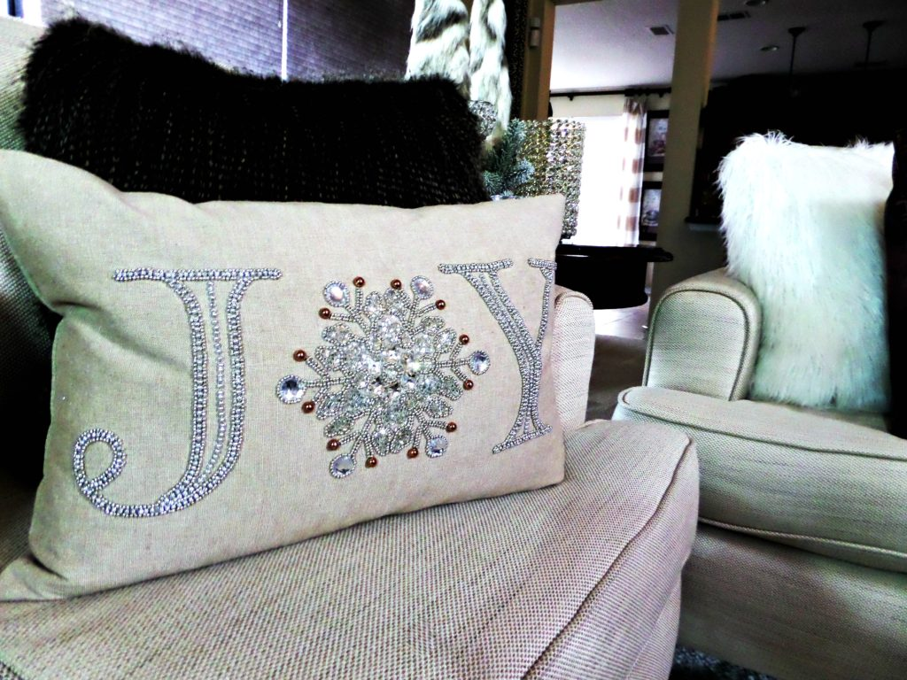 Beaded Christmas Lumbar Pillow