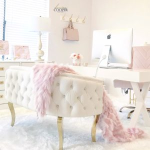 Blush Pink Home Office Tour