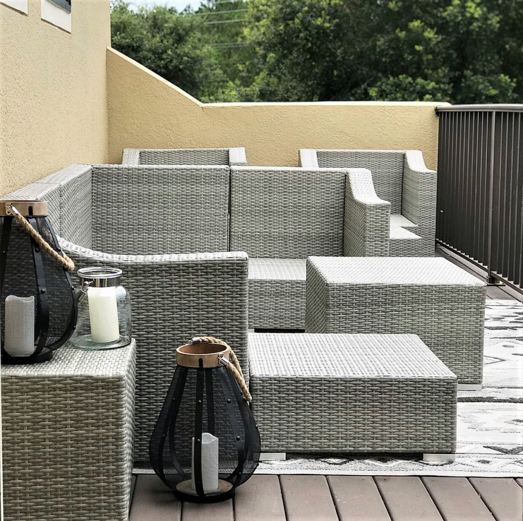 Corvus Martinka 11-piece grey and blue wicker patio set