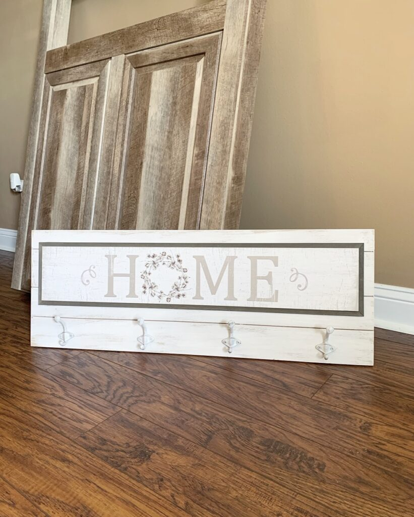 Home Wall Sign With Hooks