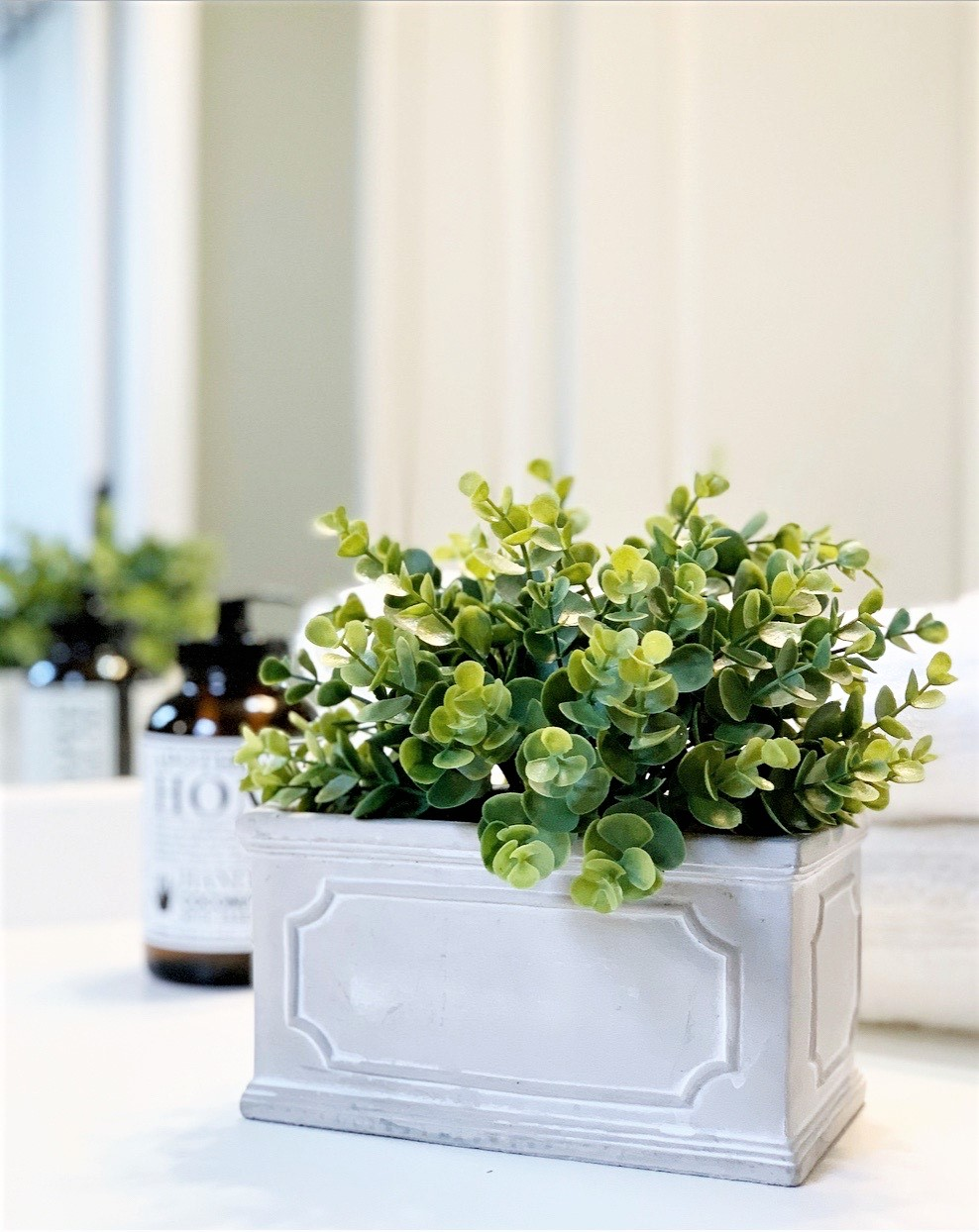 Better Homes & Gardens Stone Planter With Faux Foliage